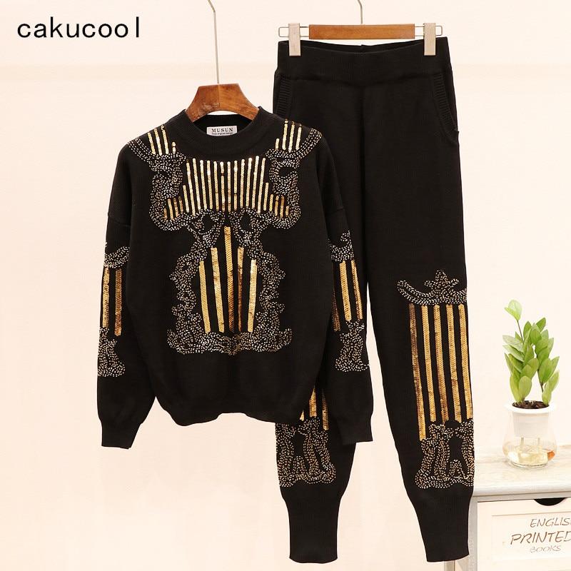 Cakucool Gold Sequins Knit Set Women Autumn Beading Embroid Two Pieces Pantalon Set Casual Sweater and Capris Conjunto Feminino