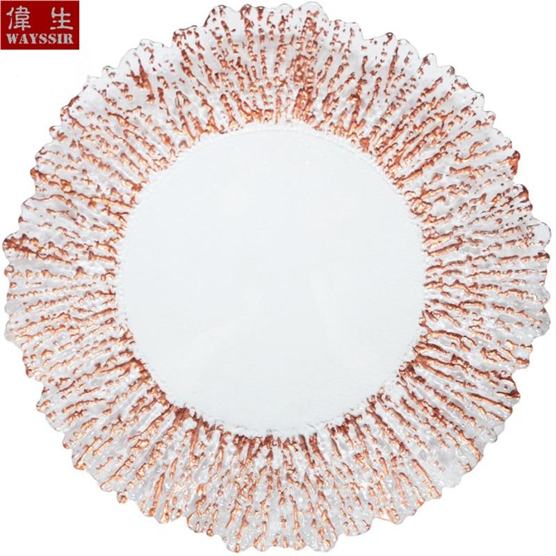 Прозрачная стеклянная тарелка в форме цветка 13 дюймов декор