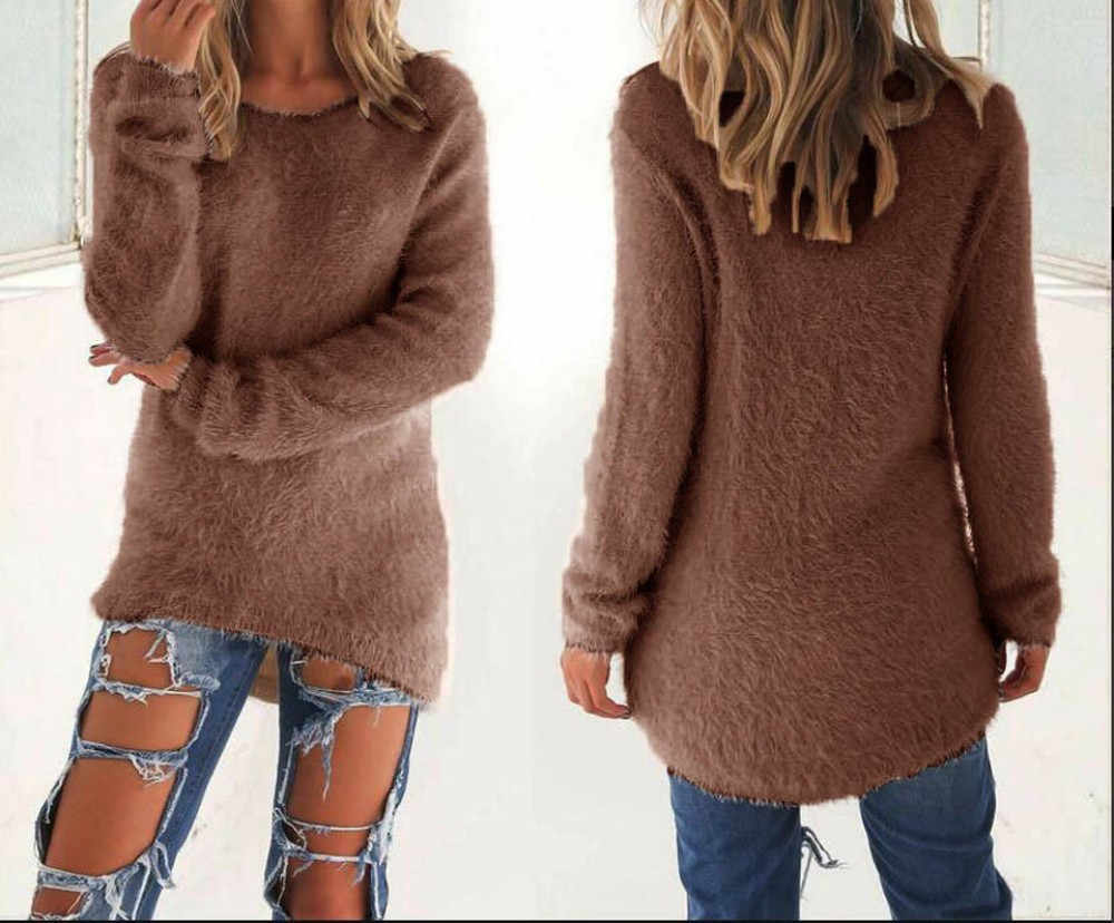여성 스웨터 2019 캐주얼 솔리드 긴 소매 점퍼 스웨터 블라우스 풀오버 니트 여성 트리코 저지 패션 스웨터