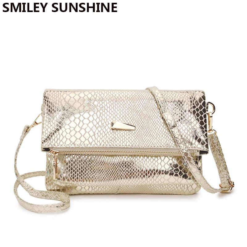 SMILEY Sinar Matahari Emas Tas Selempang untuk Wanita 2020 Fashion Wanita Messenger Tas Wanita Kecil Tas Dompet Kopling Tas Tangan Ular