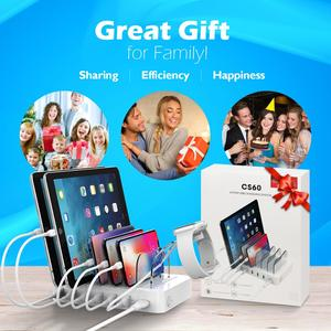Image 2 - Soopii Quick Charge 3.0 60W/12A 6 Port USB Charging Station for Multiple Devices, 6 Cables Included(2 IOS 2 Micro 2 Type C)