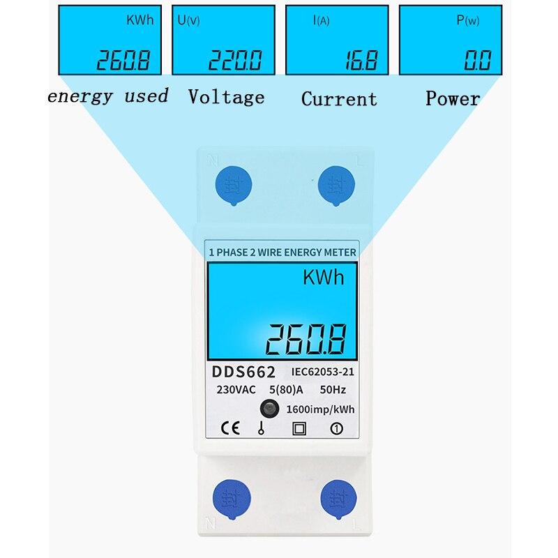 Домашний однофазный измеритель энергопотребления с ЖК-дисплеем, ваттметр, квтметр 230 В переменного тока, 50 Гц, Электрический Din-рейка