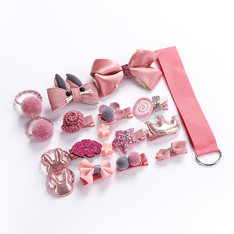 Girl Hair Clip Set Cute Cartoon Hair Accessories Kids Head Rope Bow Flower Animal Headwear Elastic Hair Band Hair Ring NTY0022