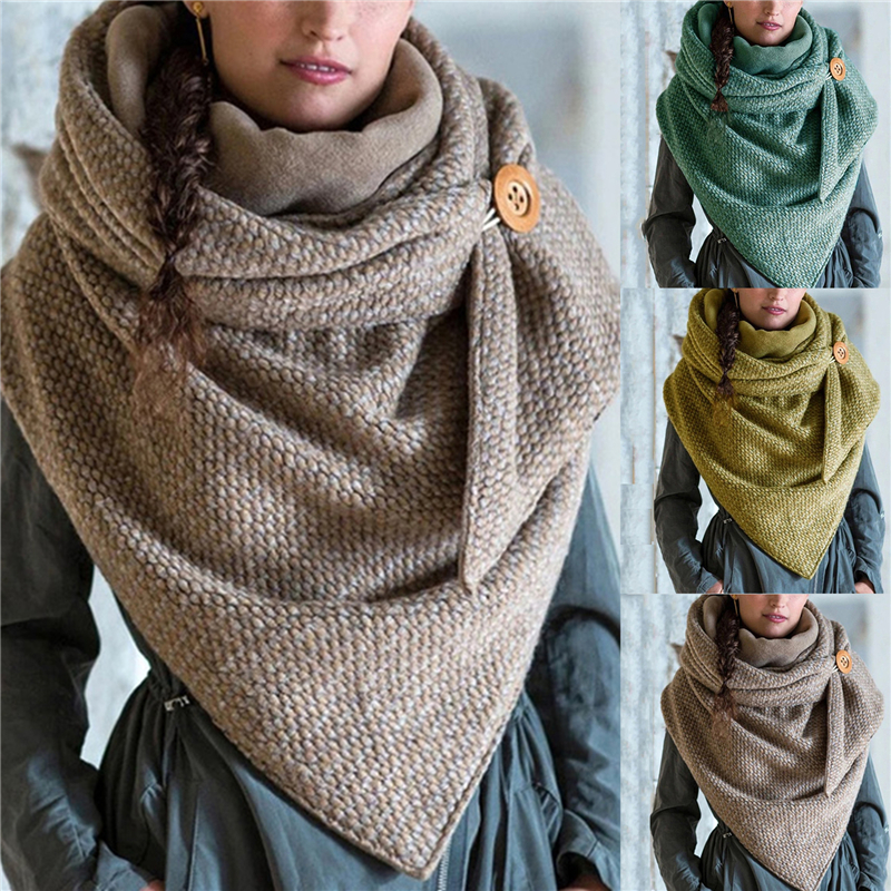 2021 Fashion Winter Women Scarf Soild Dot Printing Button Soft Wrap Casual Warm Scarves Shawls Scarf Women Шарф Бандана