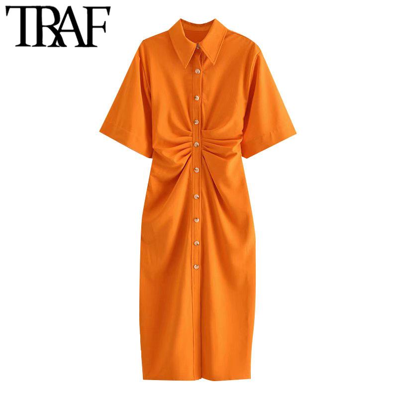 TRAF Women Chic Fashion Button up Draped Midi Shirt Dress Vintage Short Sleeve Side Zipper Female Dresses Vestidos