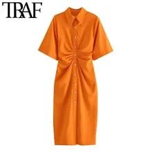 Shirt Dress Draped Short-Sleeve Button-Up Side-Zipper Midi Chic Fashion Vintage Traf Women