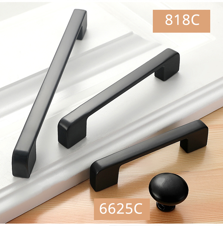 H0ed7910cde38439d992b0a65a54eeb0eR - American Style Black Cabinet Handles Solid Aluminum Alloy Kitchen Cupboard Pulls Drawer Knobs Furniture Handle Hardware