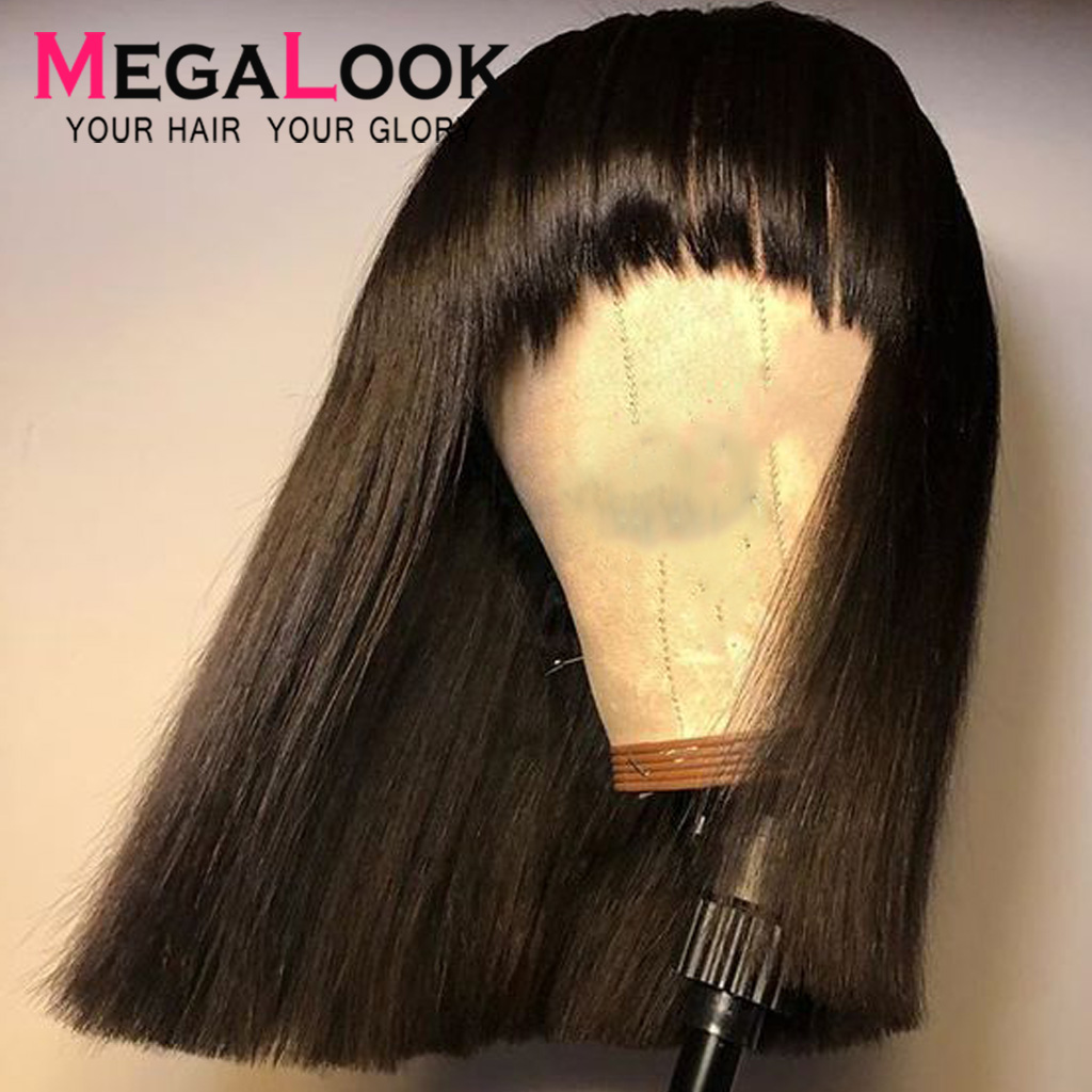 Bob Wig Brazilian Straight Short Human Hair Wigs With Bangs Machine Weft Remy Human Hair Wig Human Hair Bob Wigs Straight