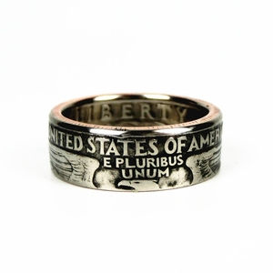 Handmade US 25 Cent Coin Ring 100% Real original Coin Ring Handcraft In Sizes 11-25 free shipping(China)