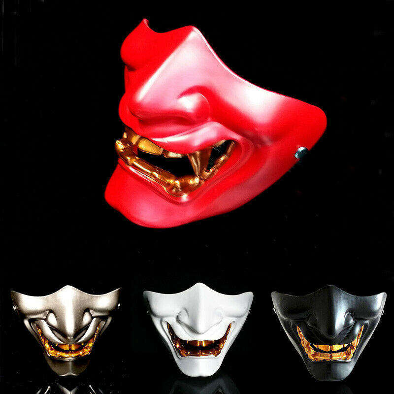 New Half Face Airsoft Mask Halloween Costume Cosplay Evil Demon Monster Kabuki Samurai Hannya Oni Half Cover Prajna Masks