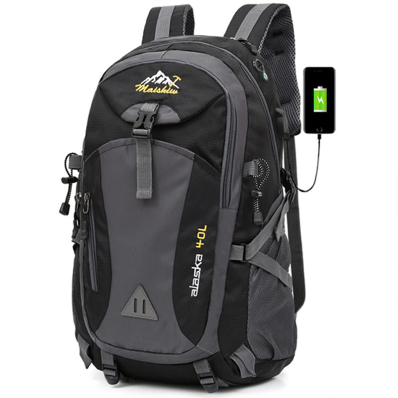 40L Waterproof USB charging Climbing Unisex male travel men Backpack men Outdoor Sports Camping Hiking Backpack School Bag Pack