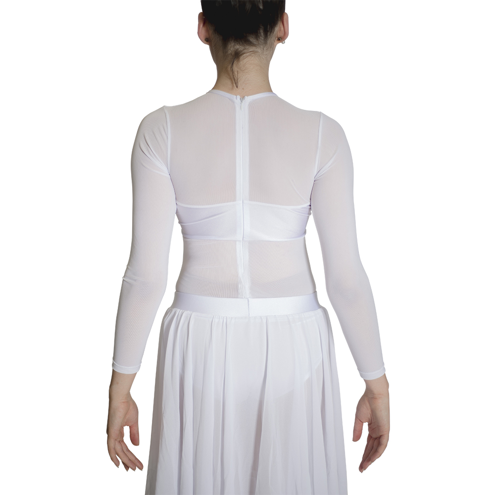White Long Mesh Sleeves Top Chiffon Long Skirts Lyrical Dance Dress Performance Costume