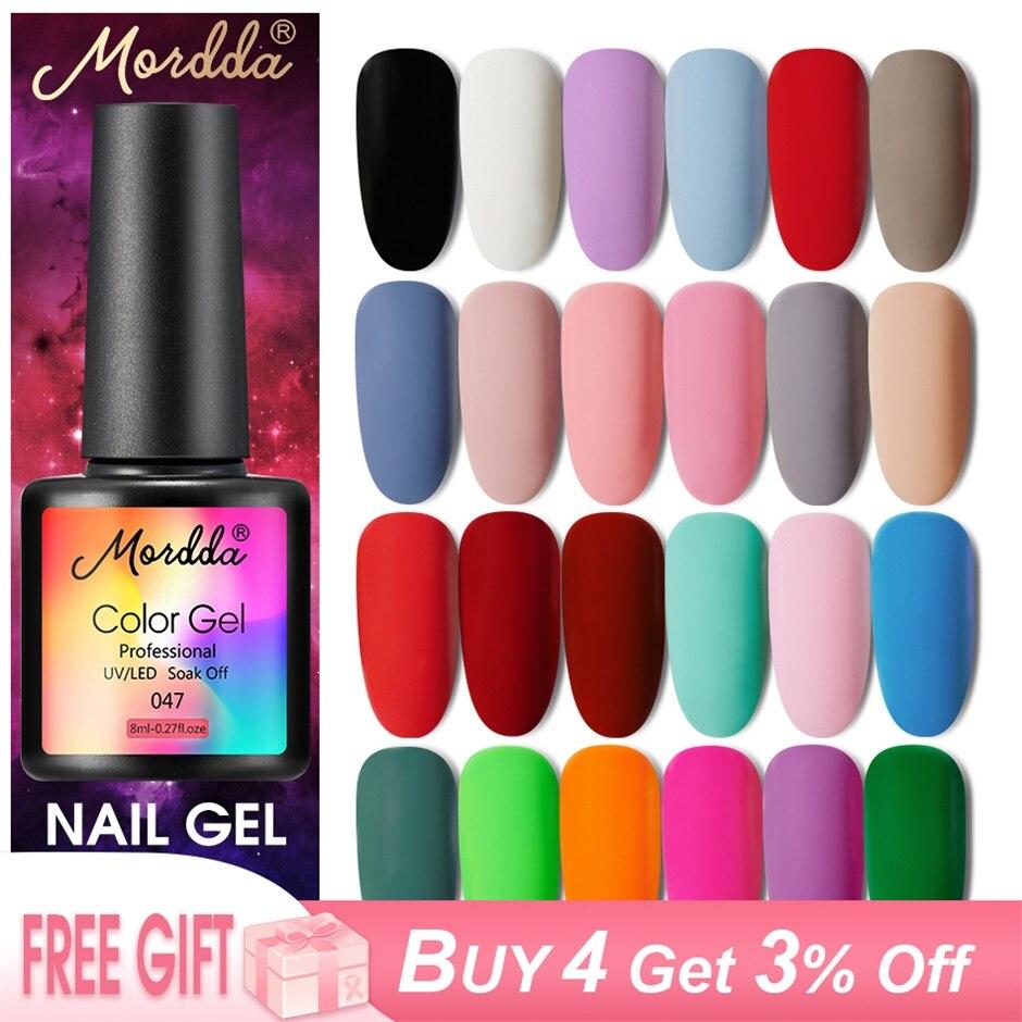 MORDDA 8 мл Гель-лак УФ светодиодный лак для ногтей для маникюра 60 цветов гель полуперманентный лак гель краска для ногтей инструменты для диза...