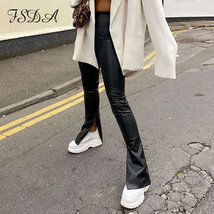 FSDA Black Leather Pants PU Women Fashion 2020 Split Autumn Winter Trousers High Waist Zip Ladies Pencil Slim Long Design Pant