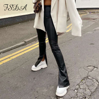 FSDA czarne spodnie skórzane PU kobiety moda 2020 Split jesienne spodnie zimowe wysokiej talii Zip panie ołówek Slim długi Design Pant tanie i dobre opinie Poliester Pełnej długości CN (pochodzenie) Wiosna jesień Women Pants Stałe Na co dzień Ołówek spodnie Mieszkanie