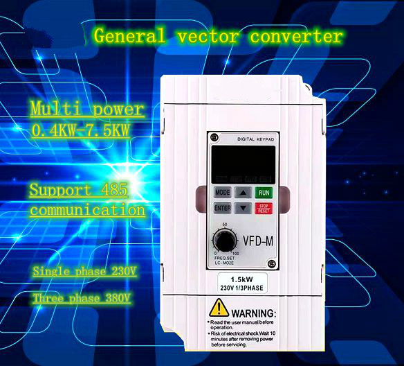<font><b>VFD</b></font> real <font><b>Inverter</b></font> <font><b>VFD</b></font>-M series,1.5KW <font><b>2.2KW</b></font> 3.7KW,7.5KW 1/3PHASE output frequency 0.1-400Hz carrier frequency up to 15kHz vector image
