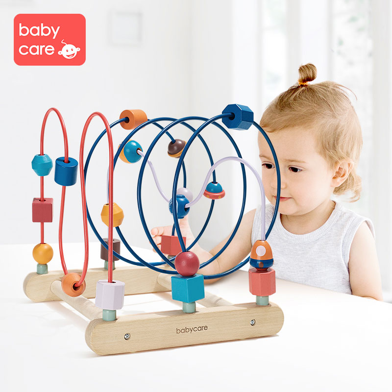 Babycare круглая головоломка 0 1 2 лет раннее развитие ребенка красочные головоломки строительные блоки действие обучение бисером - 2