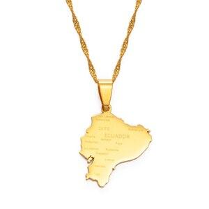 Ожерелье с подвеской Anniyo с изображением карты Эквадора для женщин, очаровательные карты золотого цвета, ювелирные изделия, лучшие подарки в...
