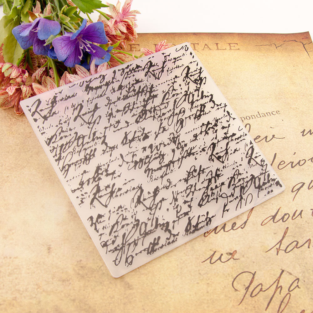 Handwritten Text Flower Print DIY Plastic Embossing Folders For DIY Scrapbooking Paper Craft/Card Making Decoration Supplies