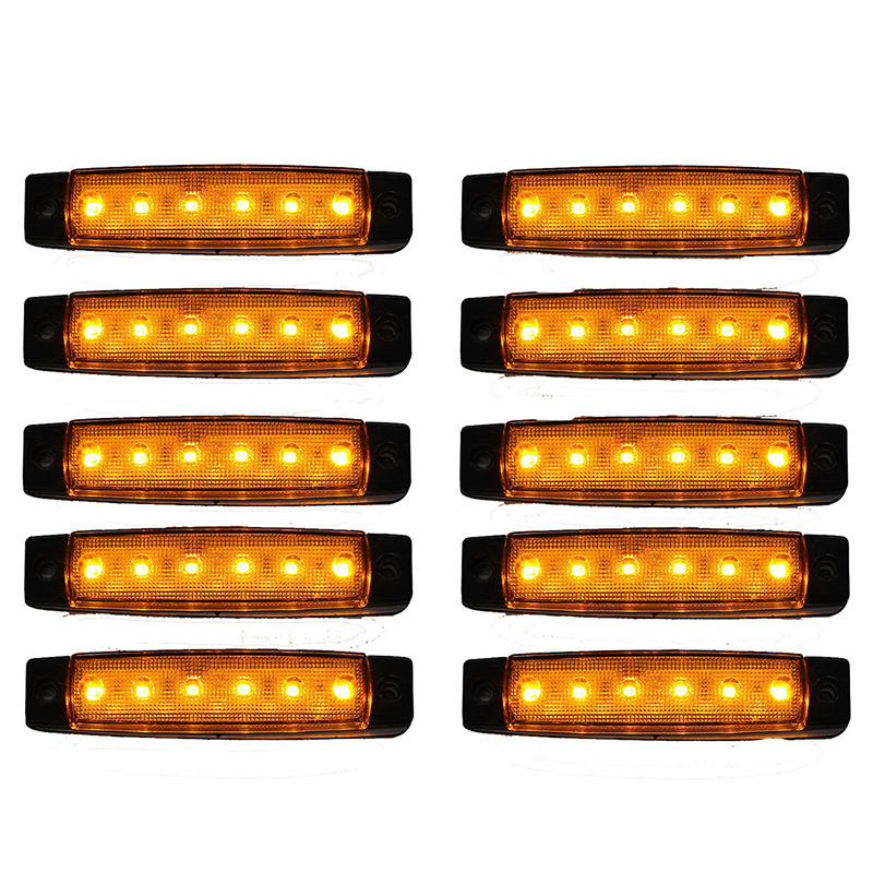 TOP 10 Pcs 12V 6 LED Orange Side Marker Indicators Lights Truck Trailer Lamp|LED Bulbs & Tubes| |  - title=