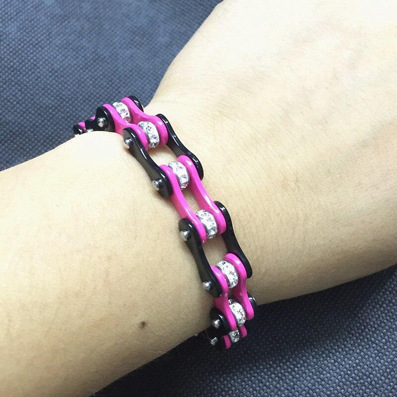 Gros bijoux de motard pour les femmes noir et rose en acier inoxydable chaîne de vélo Bracelet moto chaîne de vélo Bracelet en cristal