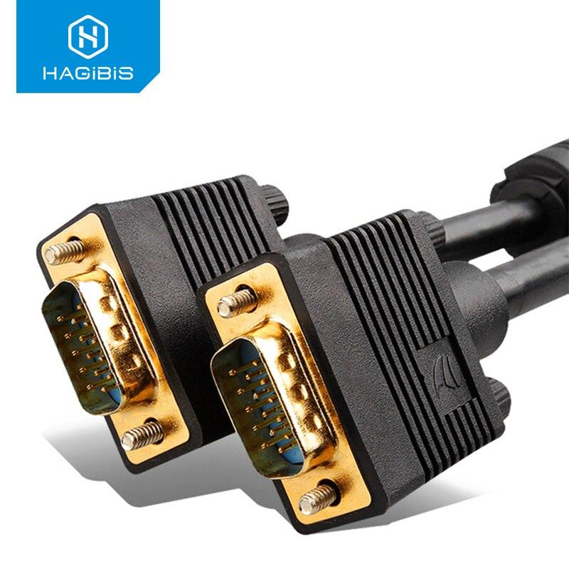 Кабель VGA Hagibis 1080P папа-папа кабель преобразователь видео Плетеный Экранирование 1 м 2 м 5 м 8 м 10 м для HDTV ПК ТВ проектора монитора