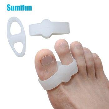 2Pcs Big Toe Two Hole Thumb Valgus Toe Separator Silicone Gel Foot Fingers Protector Corrector Pedicure Foot Care Tool 1