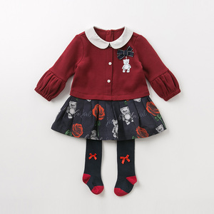 Image 3 - DB11981 dave bella sonbahar bebek kız prenses sevimli çiçek yay elbise çocuk moda parti elbise çocuk bebek lolita giysileri