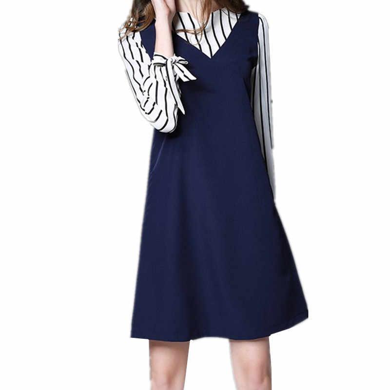 Raya larga 2020 manga vestido de gasa azul marino primavera vestido de talla grande mujer ropa 4XL 5XL vestido vestidos informales para señoras FY421 es
