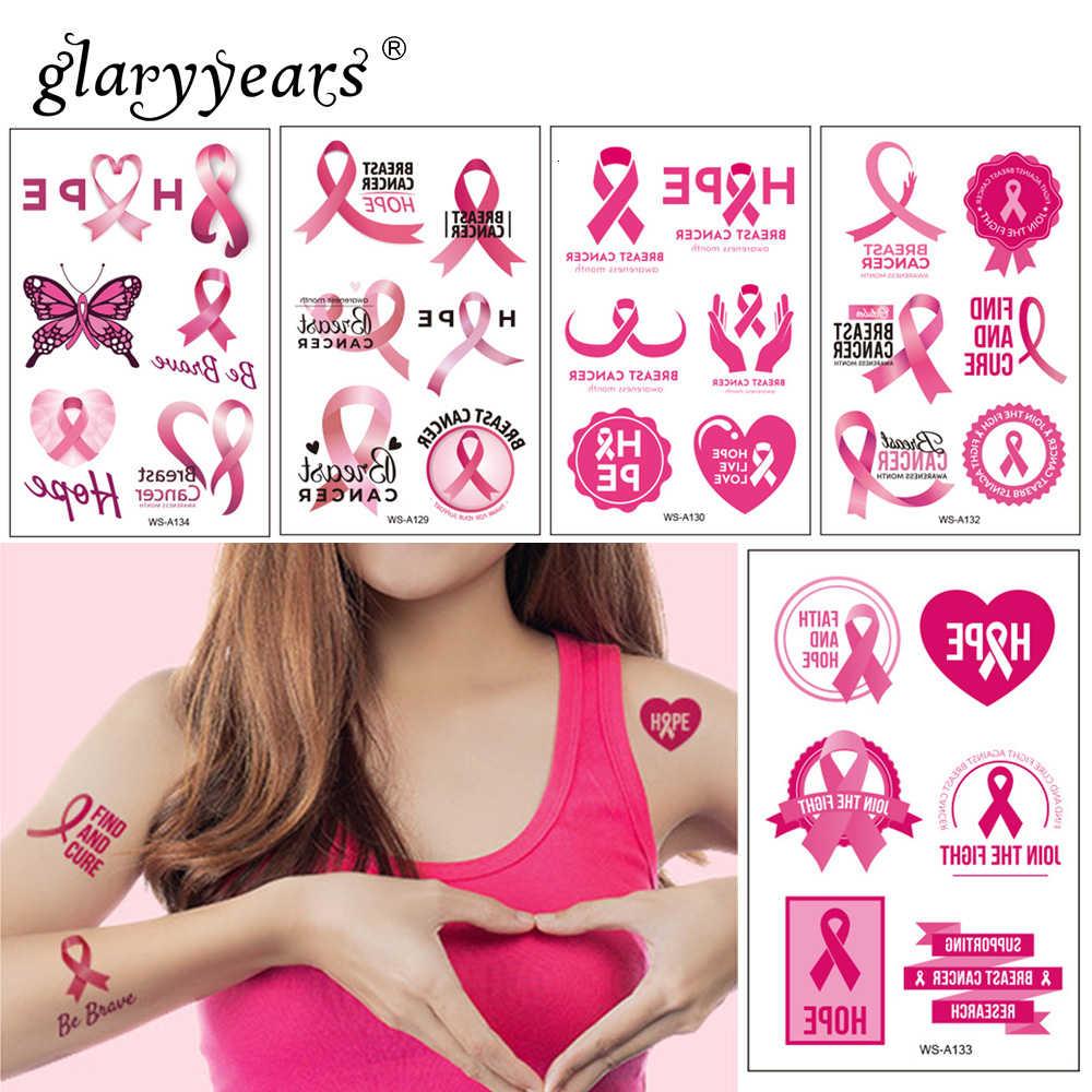 glaryyears Pink Ribbon Day Hot Temporary Tattoo Sticker Fake Flash 1 Sheet Waterproof  Fashion Small Body Art Woman Female