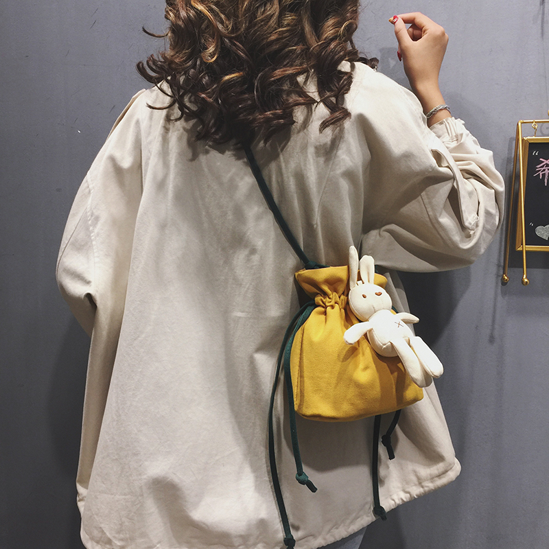 Cute Bucket Small Bags Shoulder Bag Women 2019 New Canvas Crossbody for