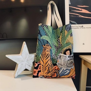 New Reusable Shopping Bag Jacquard Canvas Large Folding Tote Unisex Tiger and Reading Girl - discount item  28% OFF Special Purpose Bags