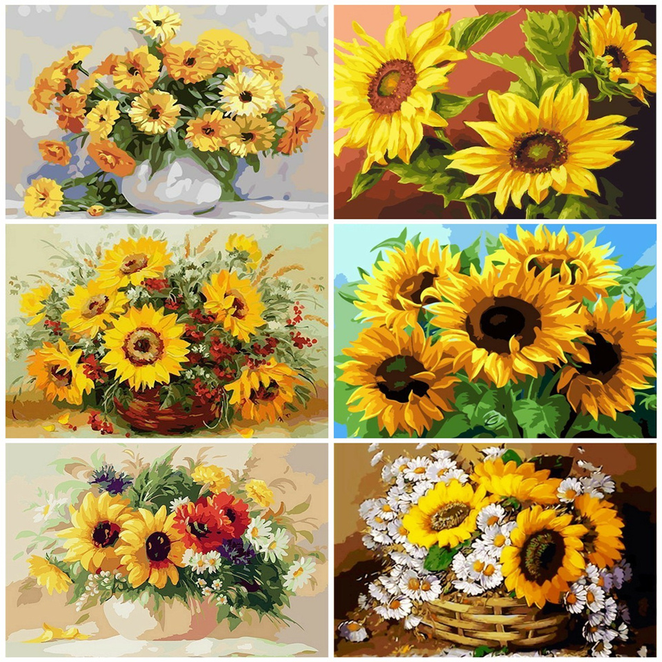 AZQSD DIY Painting By Numbers Kits Sunflowers Abstract Modern Home Wall Art Picture Flowers Paint By Numbers SZGD126