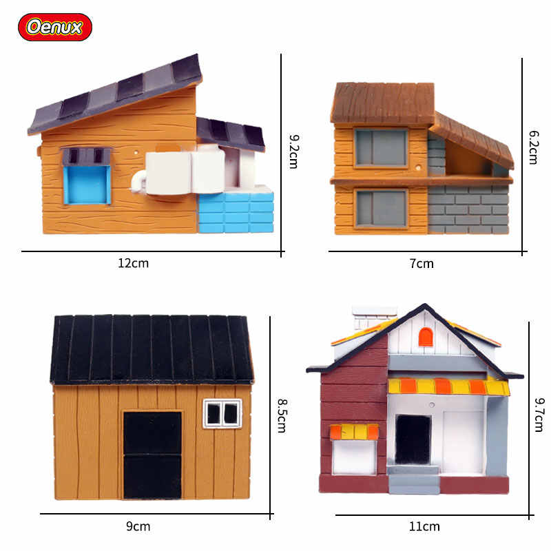 Oenux Rumah Dekorasi Aksesori Pohon Rumah Pertanian Model Layout Taman Lanskap Pemandangan Miniatur Hewan Ternak Action Figure Mainan