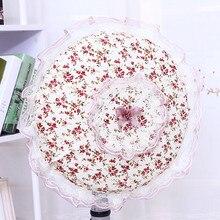 JLY в Корейском стиле, пасторальная стильная розовая кружевная крышка вентилятора, настольный электрический вентилятор, набор стоячих вентиляторов, электрическая крышка вентилятора, пылезащитная крышка