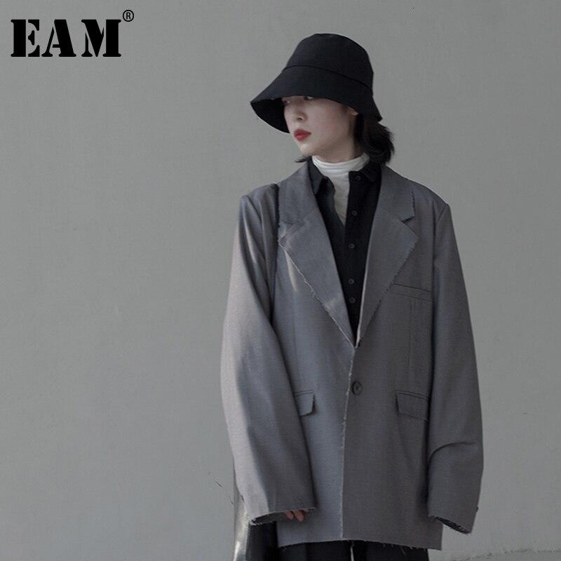 [EAM]  Women Gray Burr Split Temperament Blazer New Lapel Long Sleeve Loose Fit  Jacket Fashion Tide Spring Autumn 2019 1K506