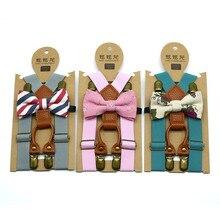 Детский Свадебный комплект для маленьких мальчиков, подтяжки, подтяжки и роскошный галстук-бабочка, классический детский галстук-бабочка, Детские вечерние галстуки