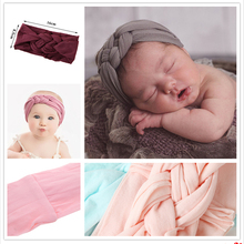 New Braided Nylon Headbands For Girls Children Twisted Top Cross Knot Headwraps Elastic
