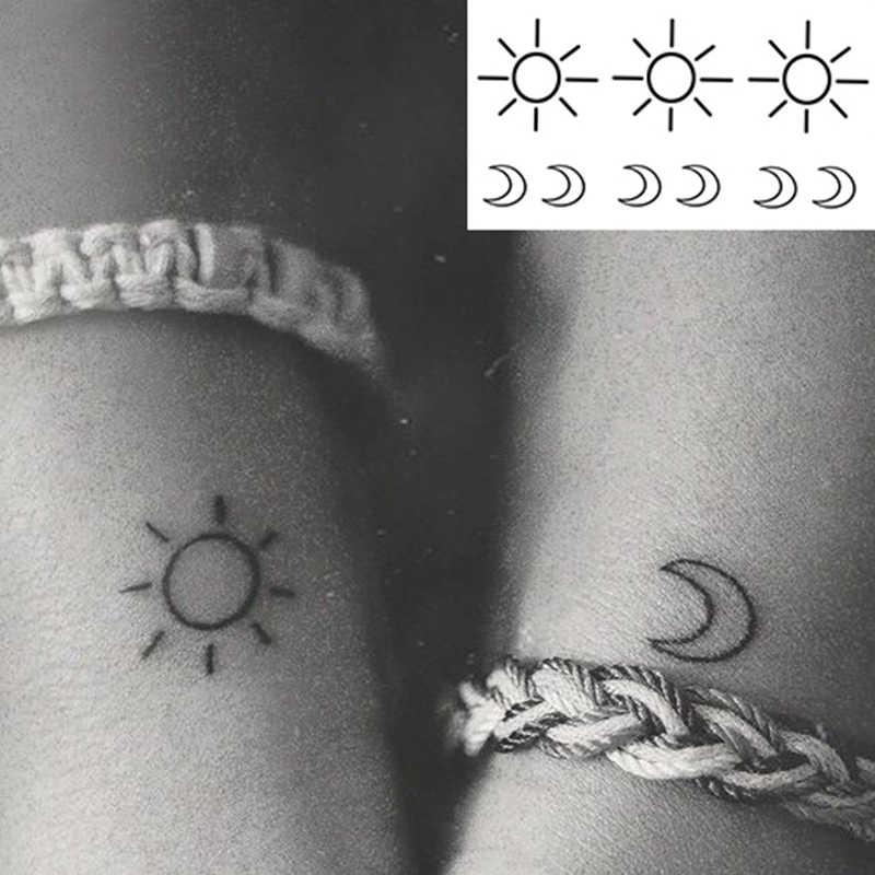 Water Transfer Tattoo Minimalist Small Sun Moon Tattoo Body Art