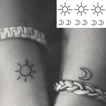 Water Transfer Tattoo Minimalist small sun moon tattoo Body Art Waterproof Temporary fake Tattoo for man woman kid 10.5*6cm