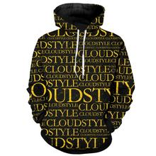 Cloudstyle Logo Hoodie for Men 3D Hot Selling Streetwear Hip Hop Casual Long Sleeve Sweatshirts