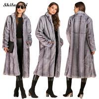 Fashion Long Faux Fur Coat Women Plus Size Stand Collar Fur Jacket High Quality Winter Fur Coat Large Size Female Furry Outwear