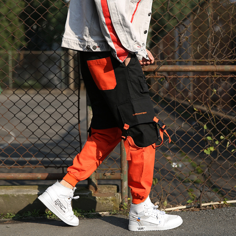 2019 Bib Overall Men's Beam Leg Hip Hop American-Style Street INS Fashion Contrast Color Joint Loose Casual Capri Harem Pants