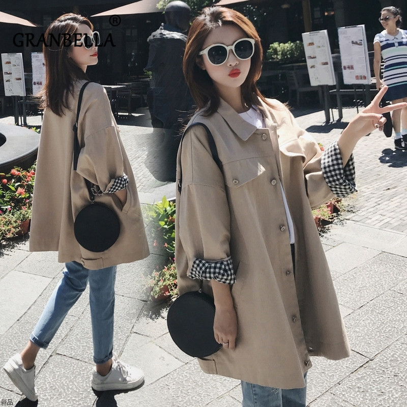 Leisure Single-row Button Women   Trench   Coat Solid Color Casual Loose Female Coats Fashion New Windbreaker