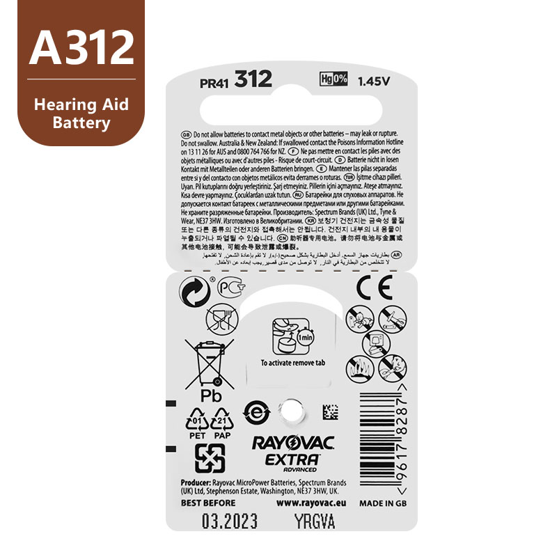 Image 3 - New 60 pcs/10card Rayovac Extra 1.45V Performance Hearing Aid Batteries. Zinc Air 312/A312/PR41 Battery for CIC Hearing aidsrayovac extrahearing aid batteriesbattery for hearing aids -