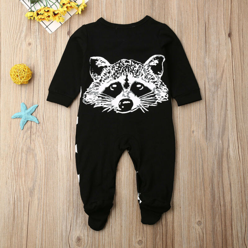 2019 Baby Boy Clothes Animal Print Footies Jumpsuit Autumn Winter Baby Clothing