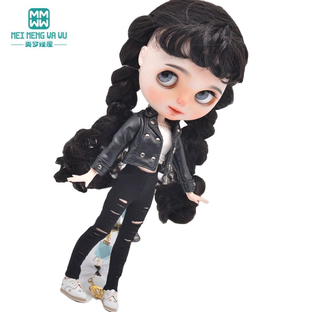 Модная новая кожаная куртка, рваные брюки подходит Blyth кукла азон OB23 OB24 кукла аксессуары