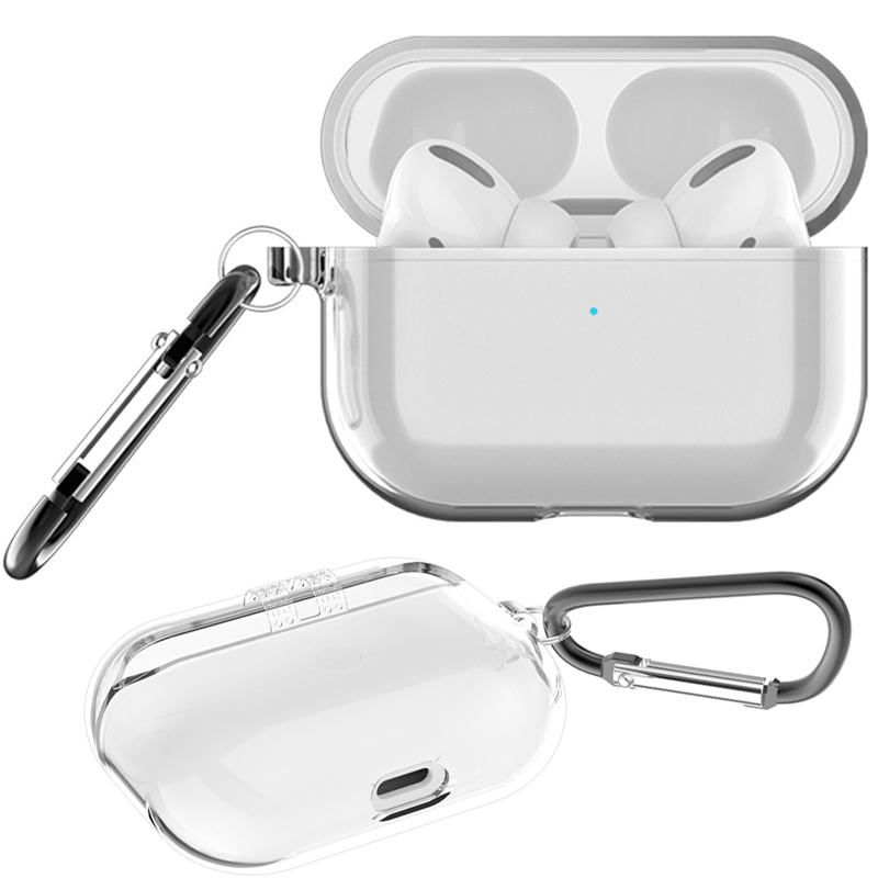 Shockproof Case For AirPods Pro With Keychain Hook Up Earphone Protective Cover For AirPods 3 Clear Transparent Cases Accessory