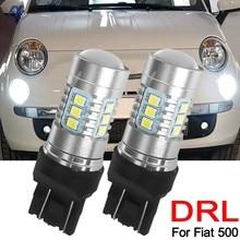 2x luz Led de conducción diurna coche bombillas 580 DRL Canbus No Error para Fiat 500, 2007, 2008, 2009, 2010, 2011, 2012-en blanco 6000K