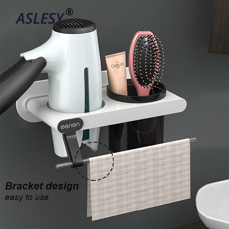 Plastic Hair Dryer Holder Wall Mount Shelf Makeup Storage Nail Free Bathroom Organizer Brushes Blow Drier Toothbrush Holder Cup